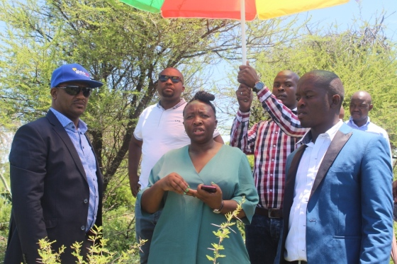 mec-desbo-mohono-flanked-by-community-safety-mec-dr-mpho-motlhabane-and-the-local-councilor-itumeleng-maribe-during-their-visit-in-kgomotso-village-near-taung